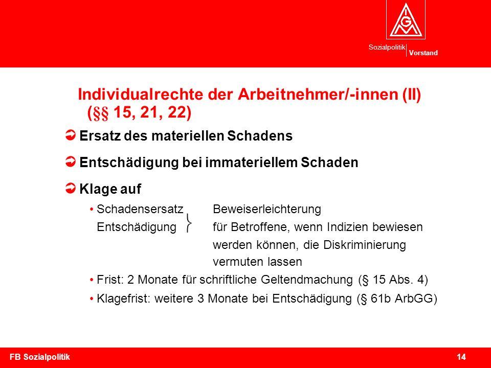 Individualrechte der Arbeitnehmer/-innen (II) (§§ 15, 21, 22)
