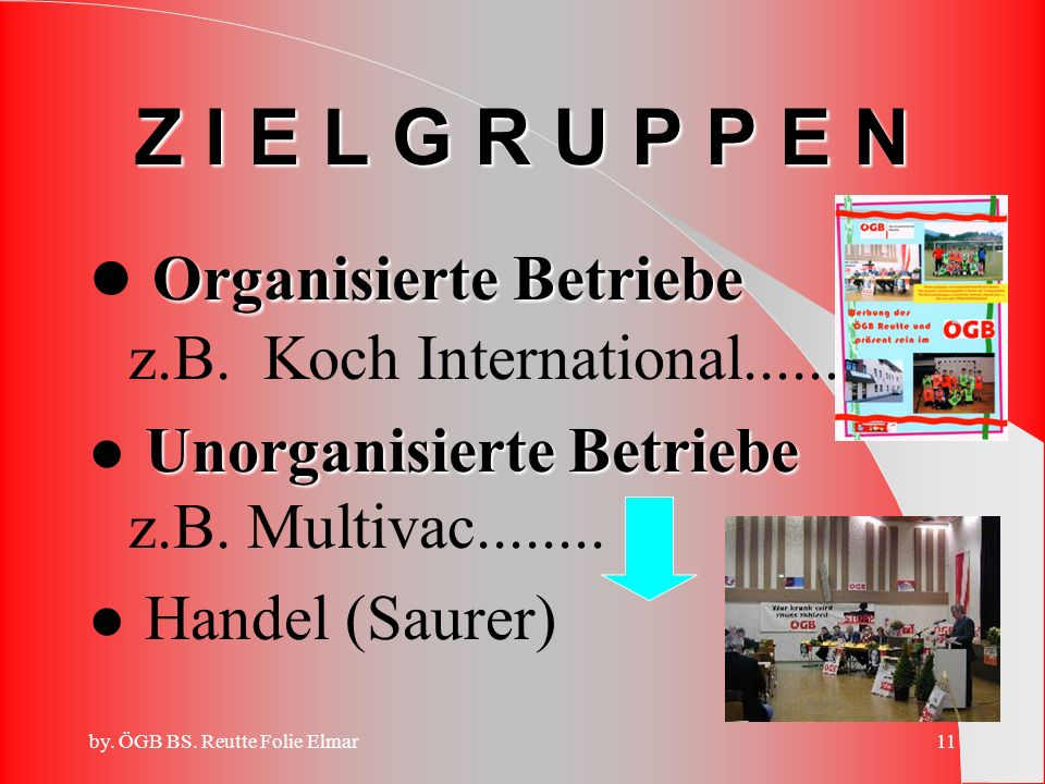 Organisierte Betriebe z.B. Koch International......