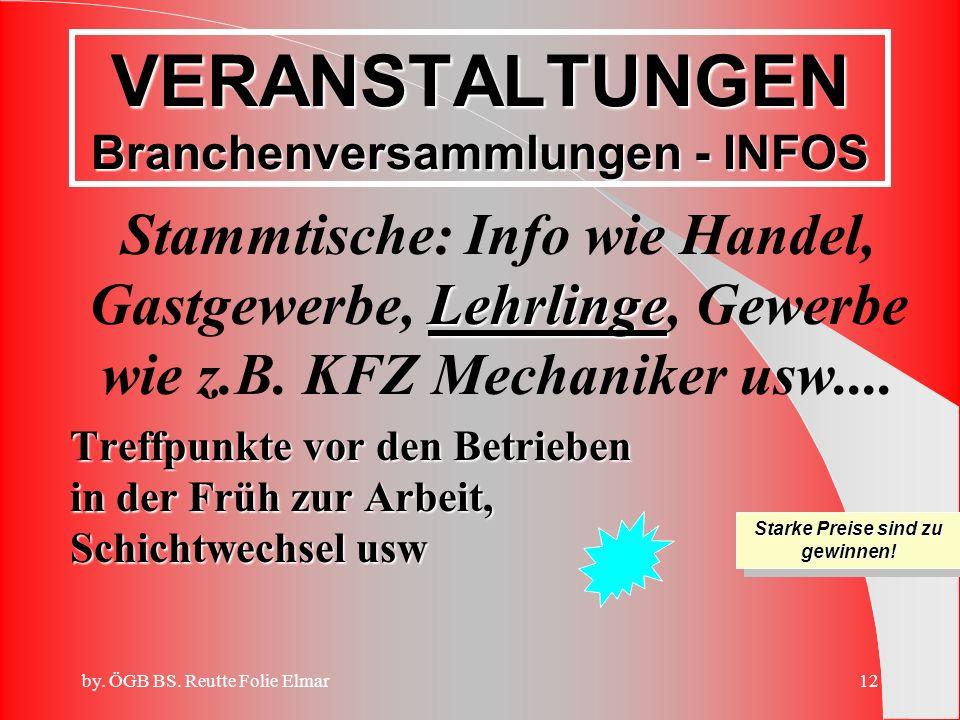 VERANSTALTUNGEN Branchenversammlungen - INFOS
