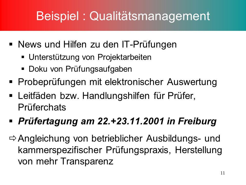 Beispiel : Qualitätsmanagement