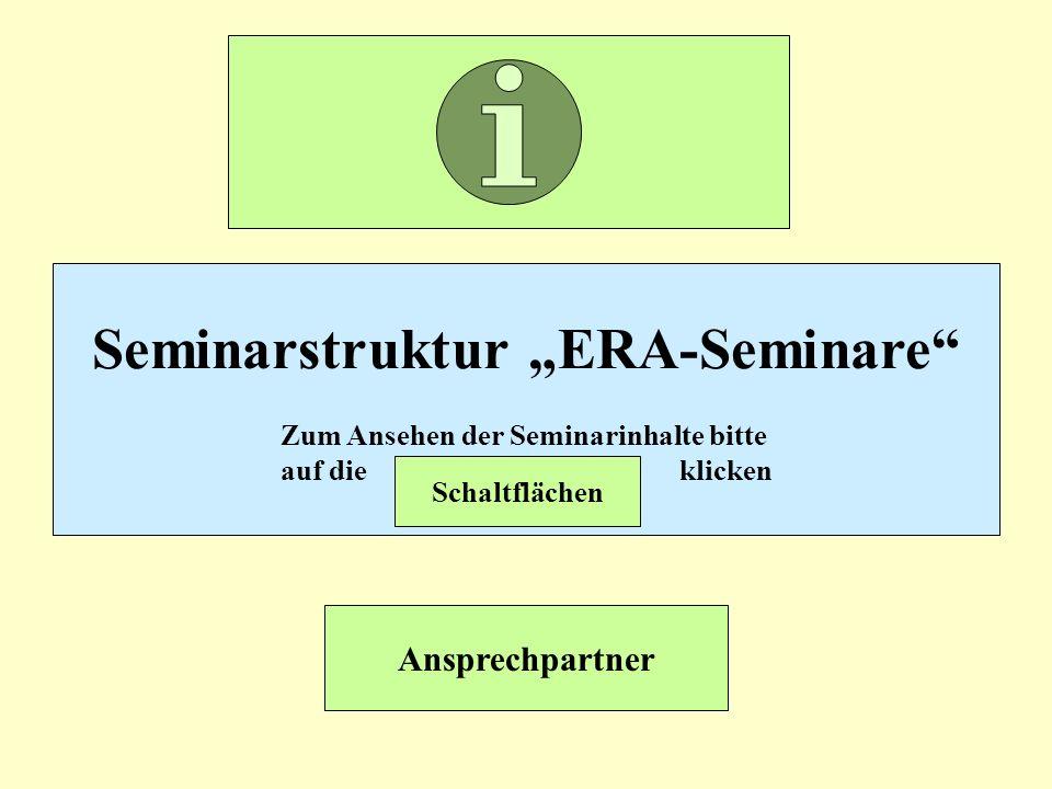 """Seminarstruktur """"ERA-Seminare Zum Ansehen der Seminarinhalte bitte"""