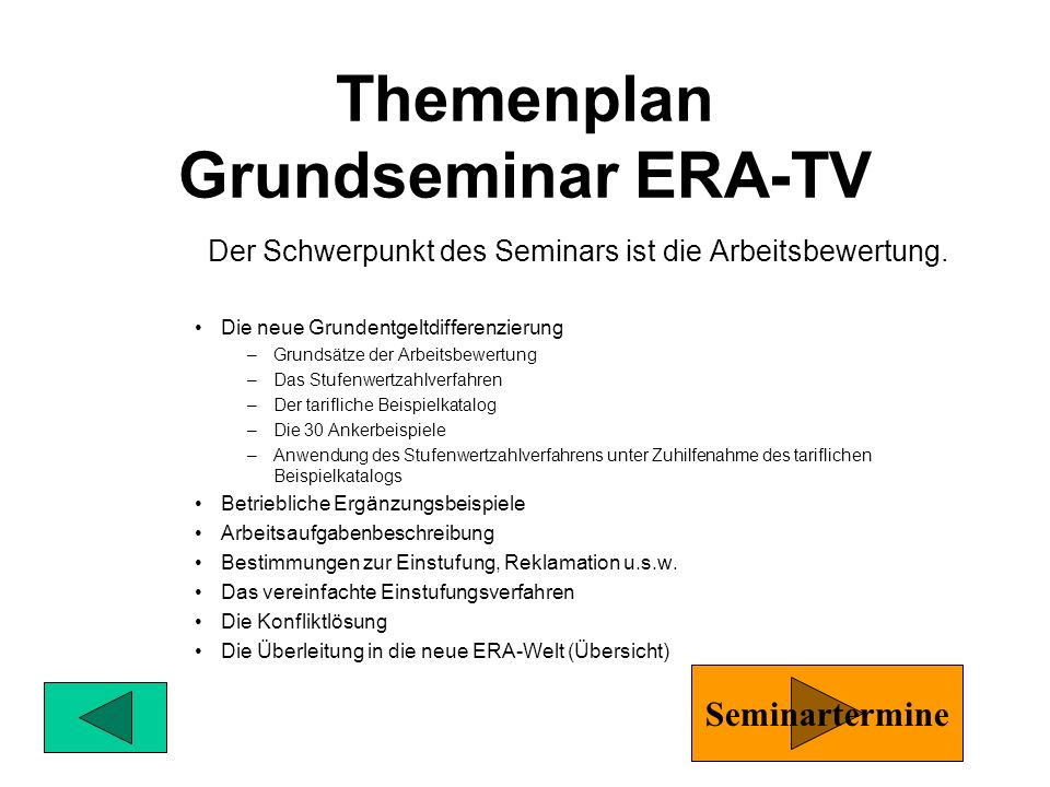 Themenplan Grundseminar ERA-TV