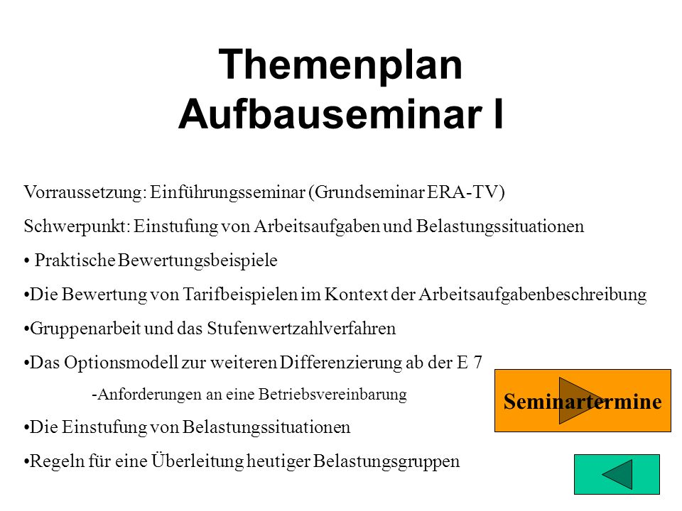 Themenplan Aufbauseminar I