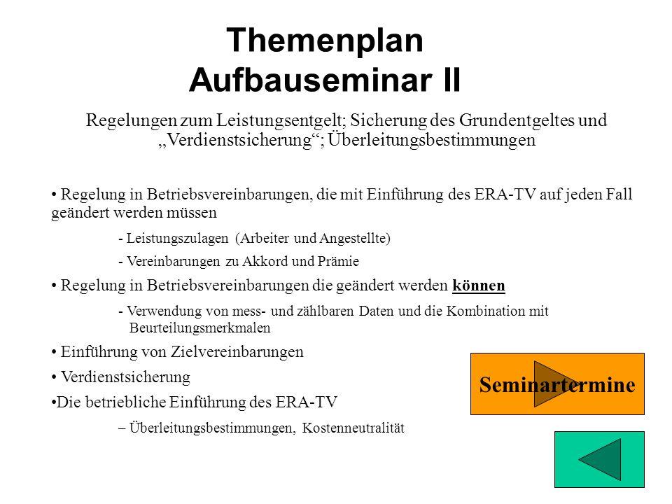 Themenplan Aufbauseminar II