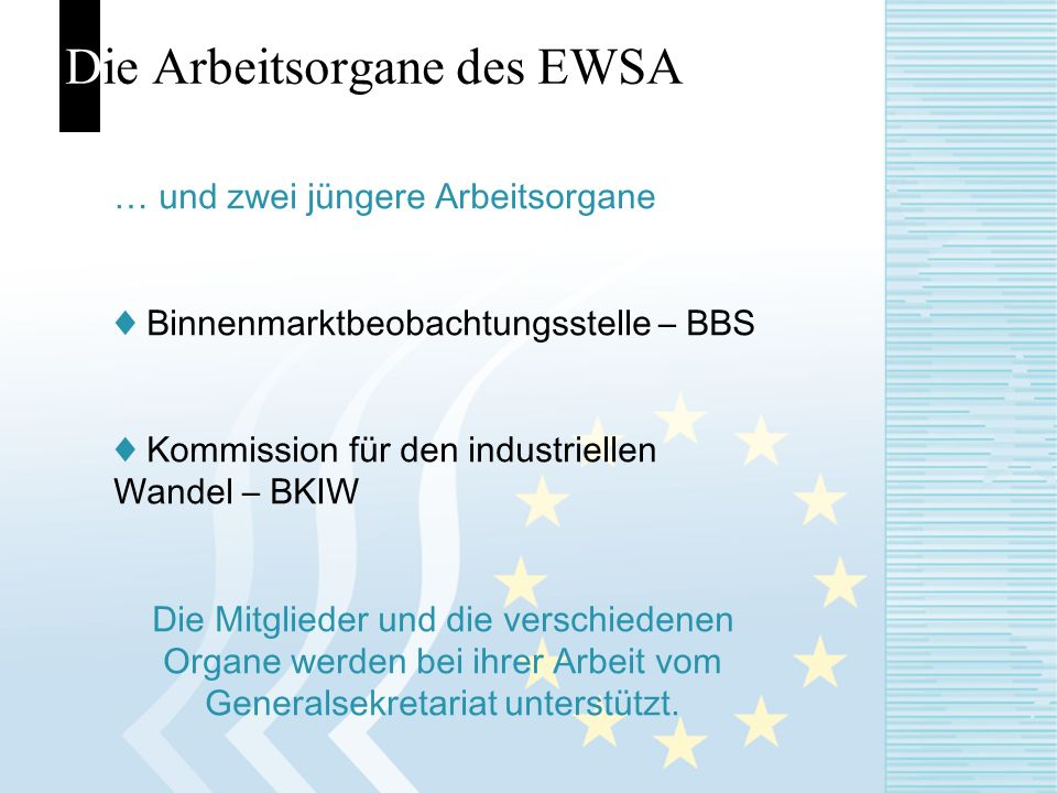 Die Arbeitsorgane des EWSA