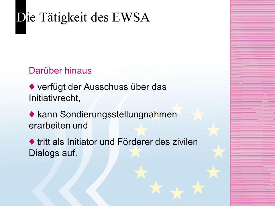 Die Tätigkeit des EWSA Darüber hinaus