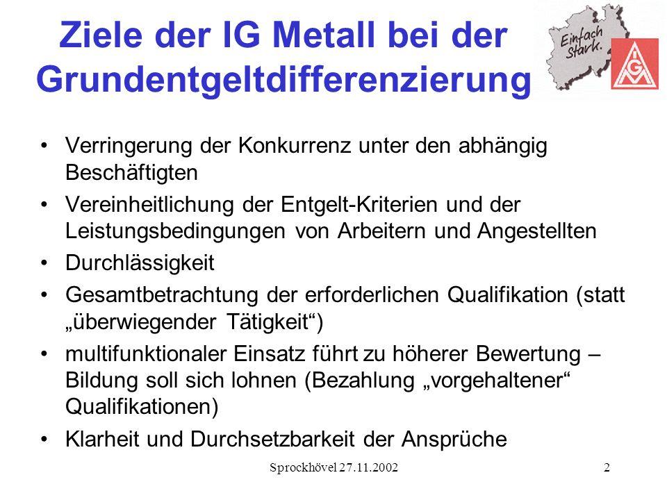 Ziele der IG Metall bei der Grundentgeltdifferenzierung