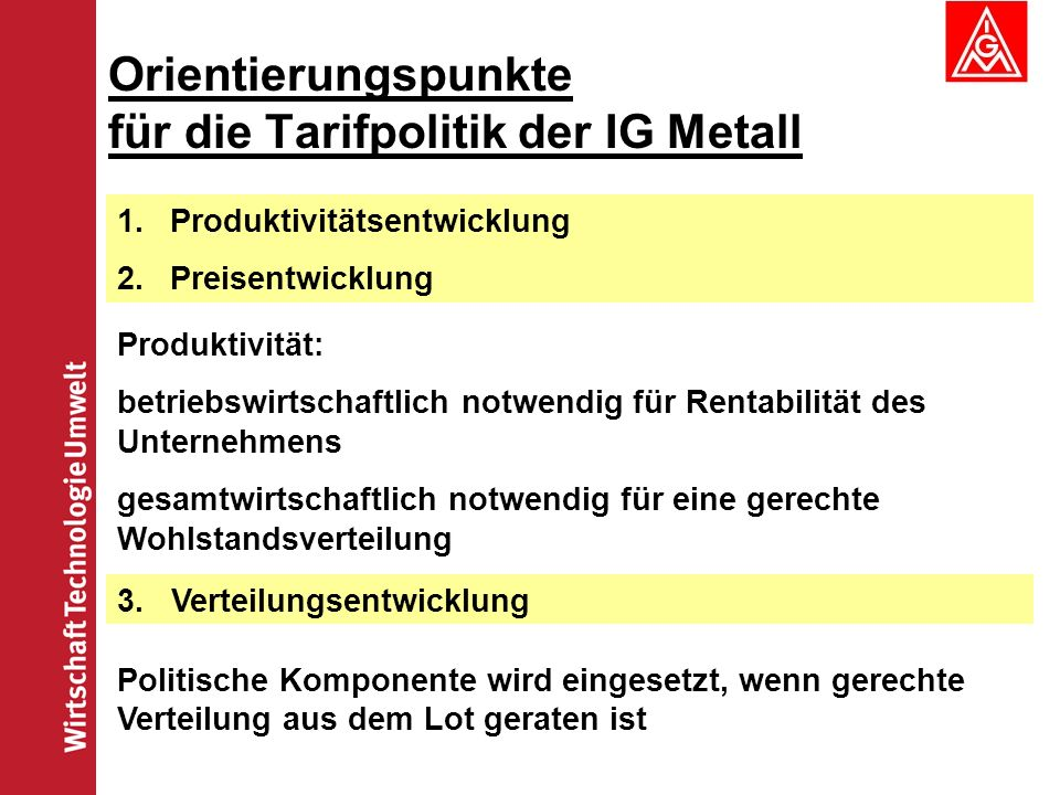 Orientierungspunkte für die Tarifpolitik der IG Metall