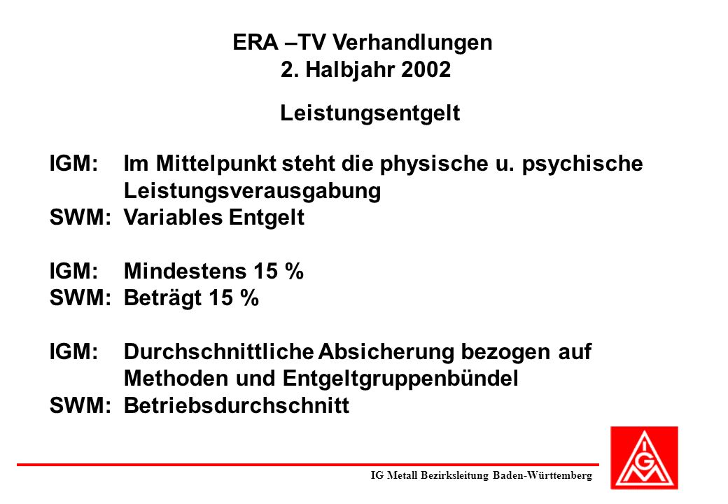 ERA –TV Verhandlungen 2. Halbjahr 2002
