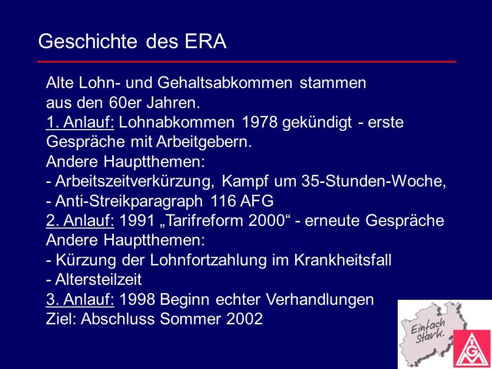 Geschichte des ERA Alte Lohn- und Gehaltsabkommen stammen