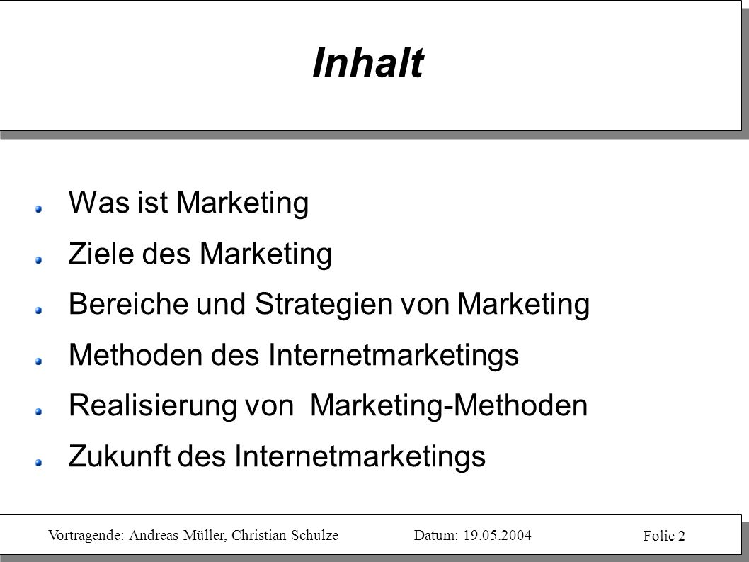 Inhalt Was ist Marketing Ziele des Marketing