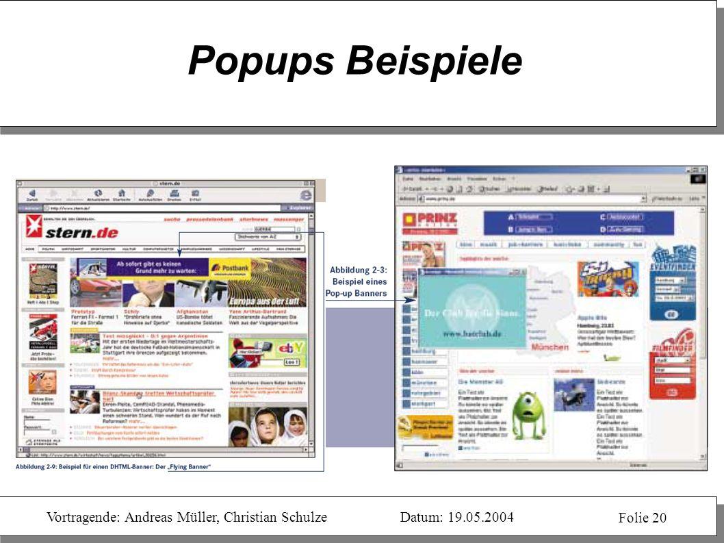 Popups Beispiele