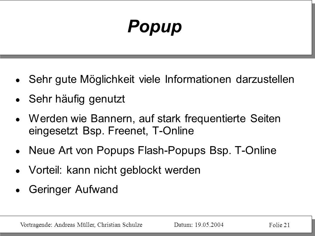 Popup Sehr gute Möglichkeit viele Informationen darzustellen