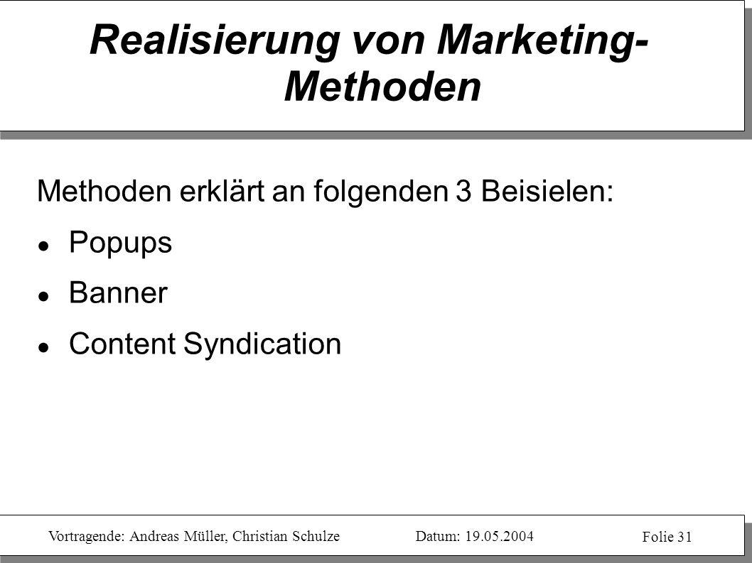 Realisierung von Marketing-Methoden