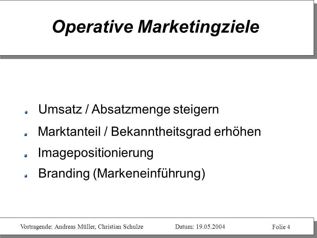 Operative Marketingziele