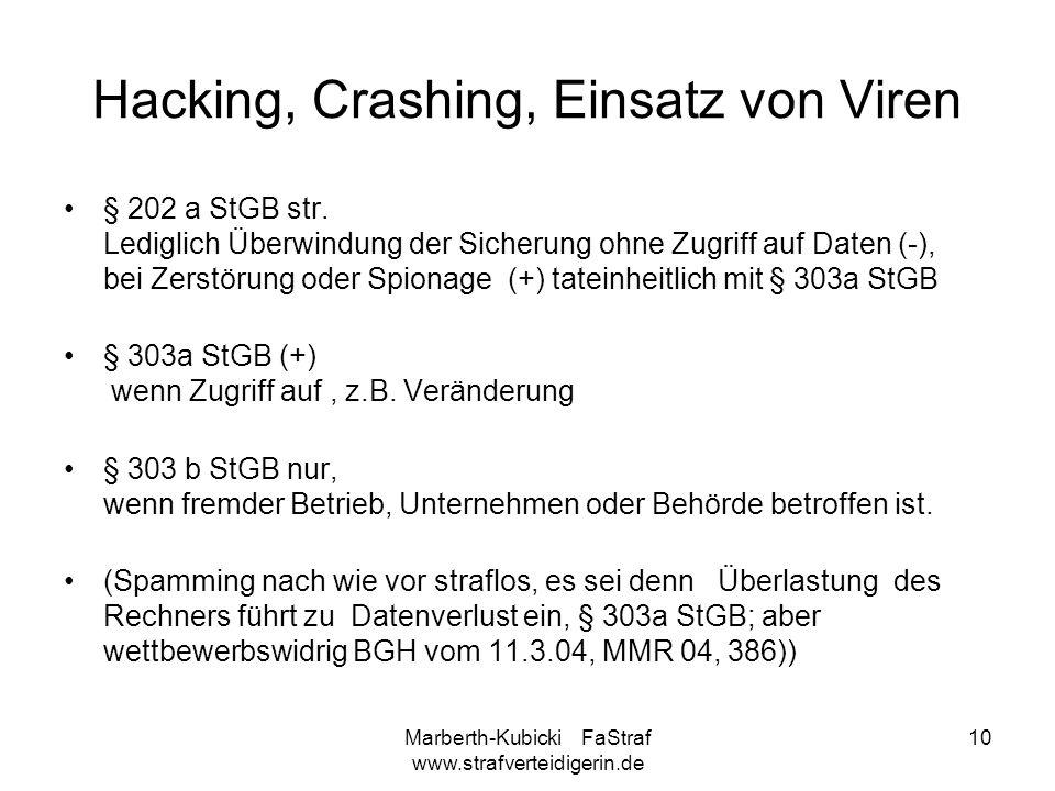 Hacking, Crashing, Einsatz von Viren