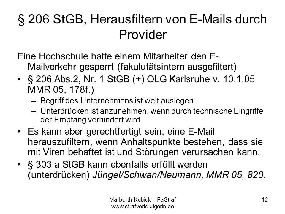 § 206 StGB, Herausfiltern von E-Mails durch Provider