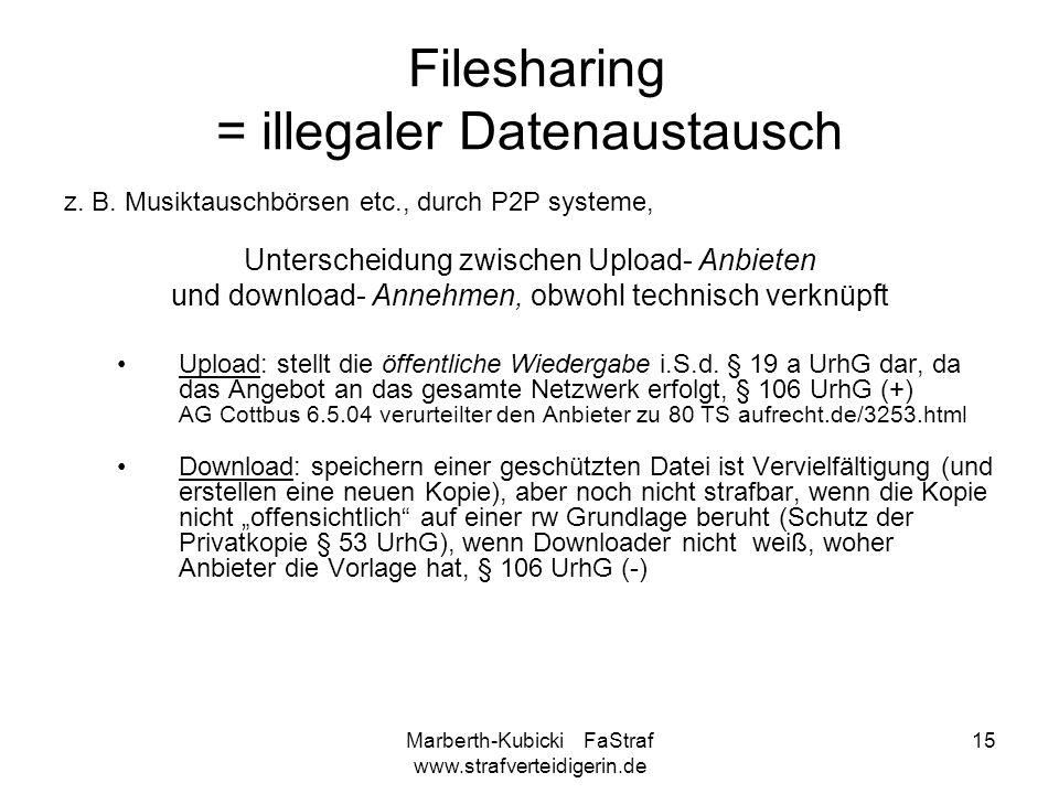 Filesharing = illegaler Datenaustausch