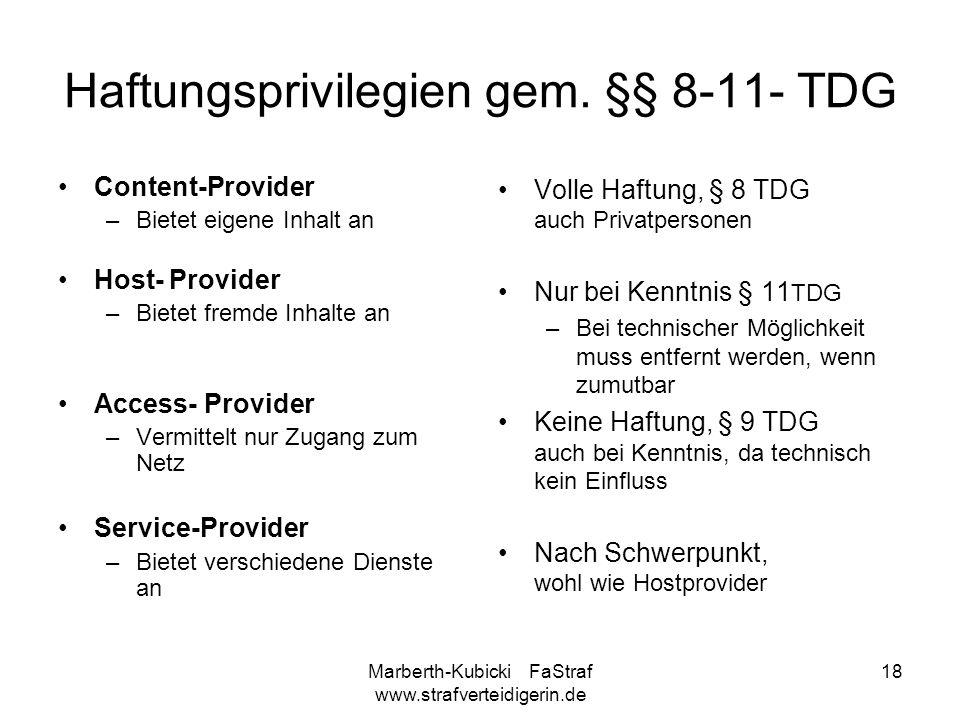 Haftungsprivilegien gem. §§ 8-11- TDG