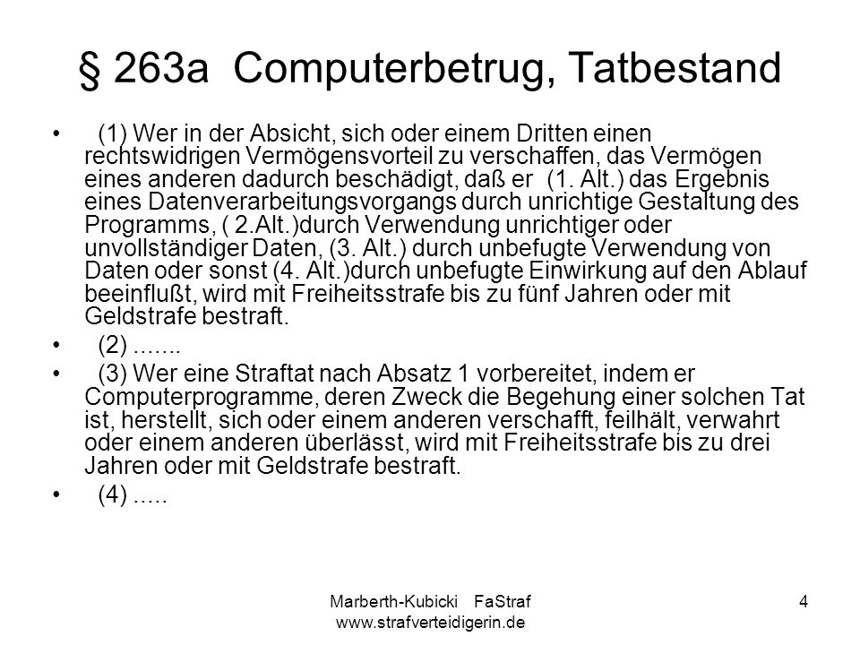 § 263a Computerbetrug, Tatbestand