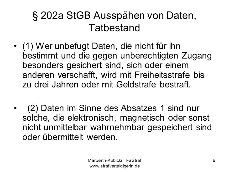 § 202a StGB Ausspähen von Daten, Tatbestand