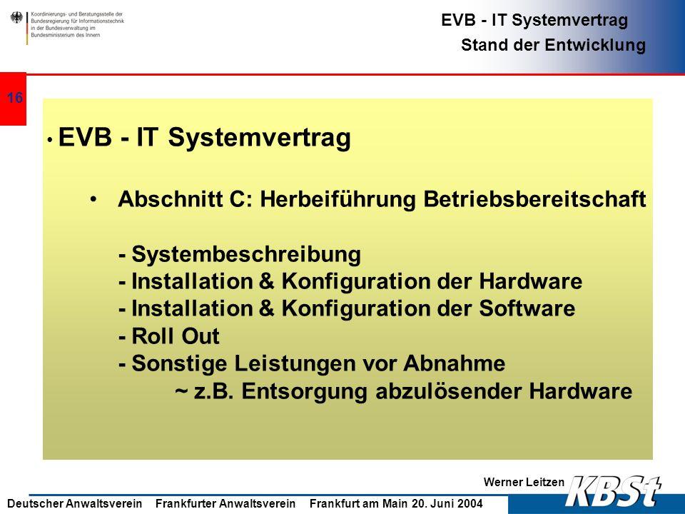Abschnitt C: Herbeiführung Betriebsbereitschaft - Systembeschreibung
