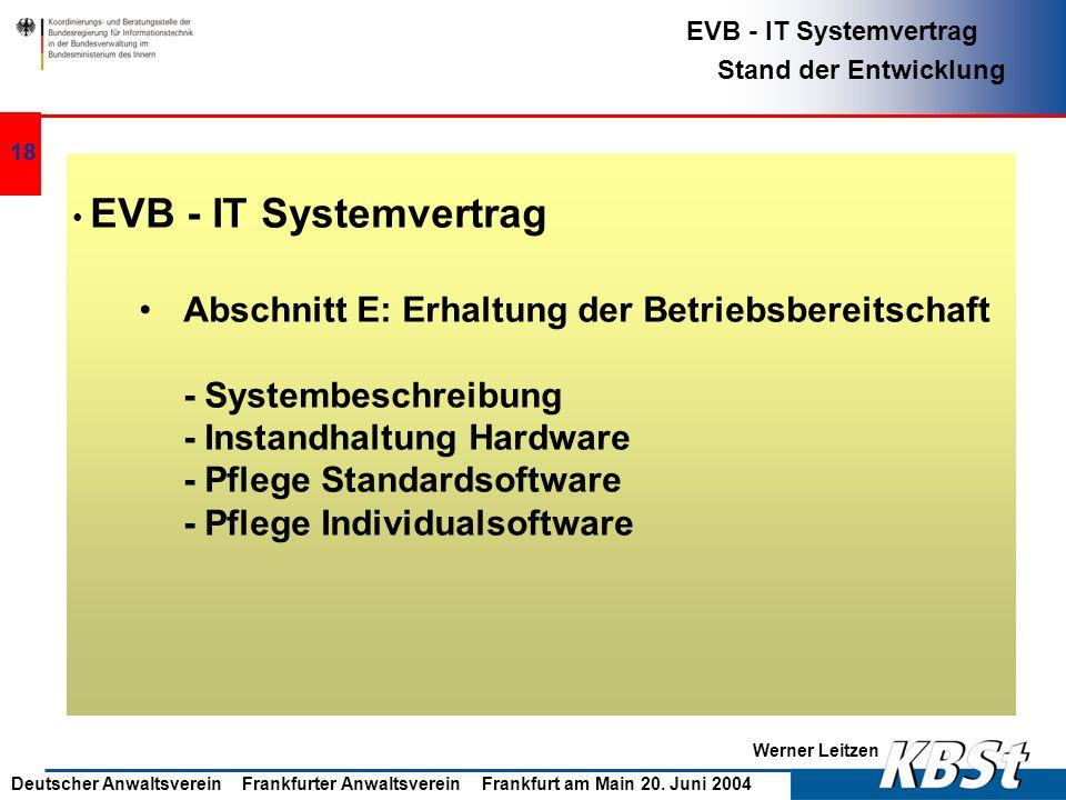 Abschnitt E: Erhaltung der Betriebsbereitschaft - Systembeschreibung