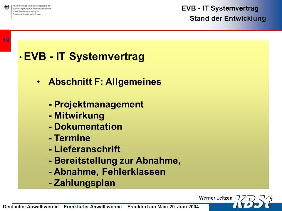Abschnitt F: Allgemeines - Projektmanagement - Mitwirkung