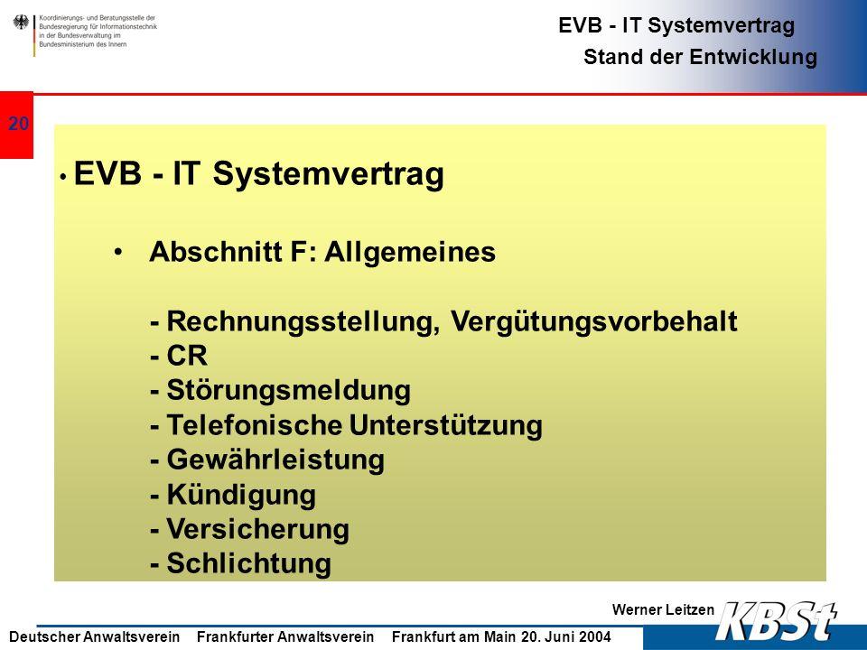 Abschnitt F: Allgemeines - Rechnungsstellung, Vergütungsvorbehalt - CR