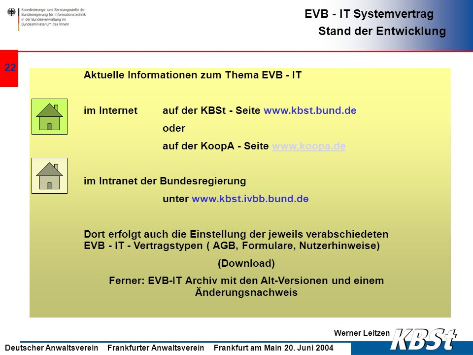 Aktuelle Informationen zum Thema EVB - IT