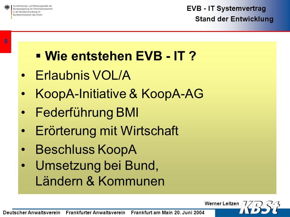 Wie entstehen EVB - IT Erlaubnis VOL/A. KoopA-Initiative & KoopA-AG. Federführung BMI. Erörterung mit Wirtschaft.