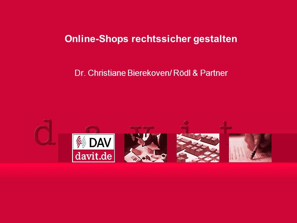 Online-Shops rechtssicher gestalten