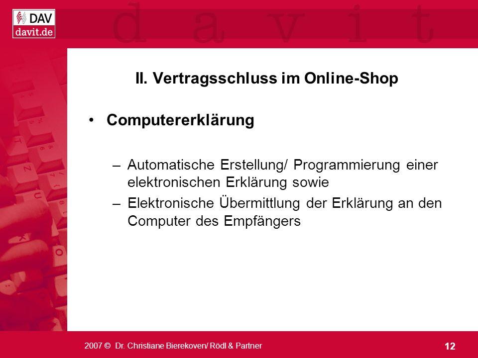 II. Vertragsschluss im Online-Shop