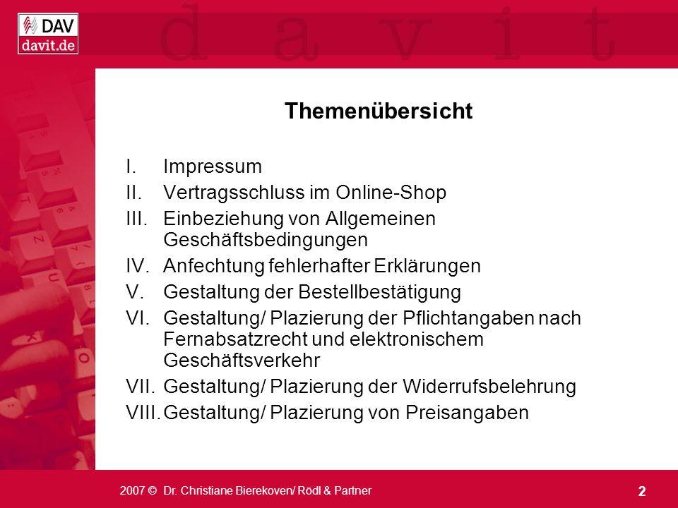 Themenübersicht Impressum Vertragsschluss im Online-Shop