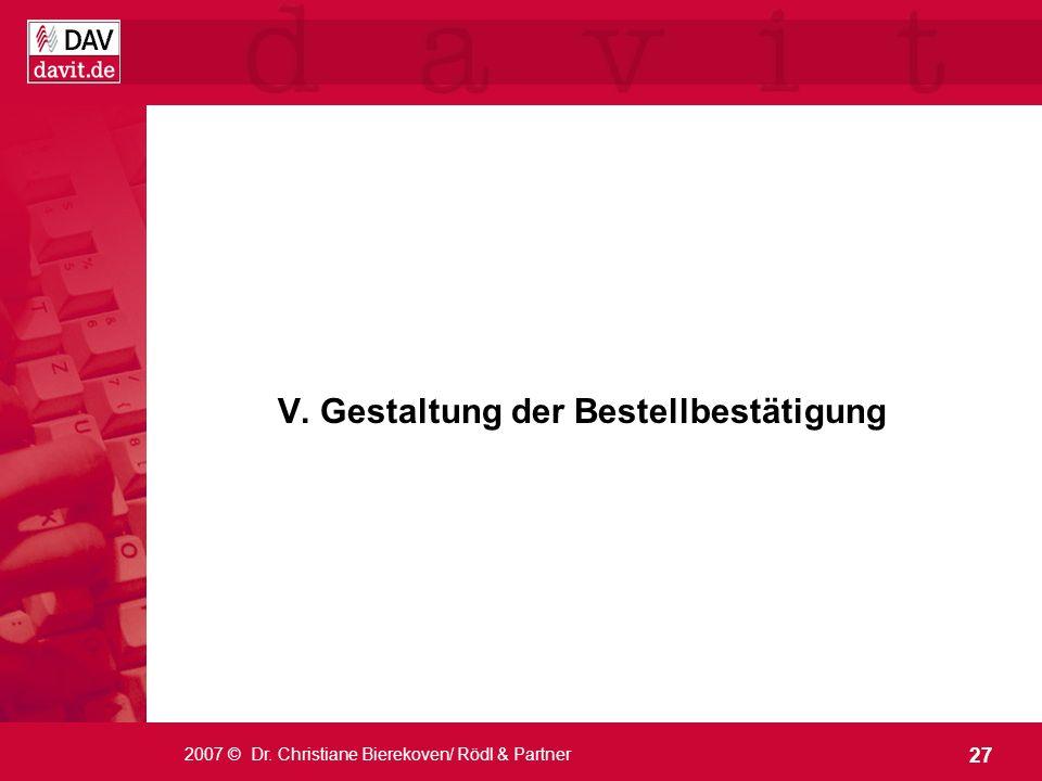 V. Gestaltung der Bestellbestätigung