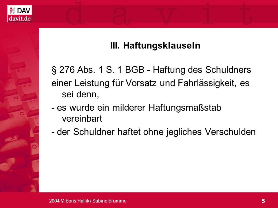 § 276 Abs. 1 S. 1 BGB - Haftung des Schuldners