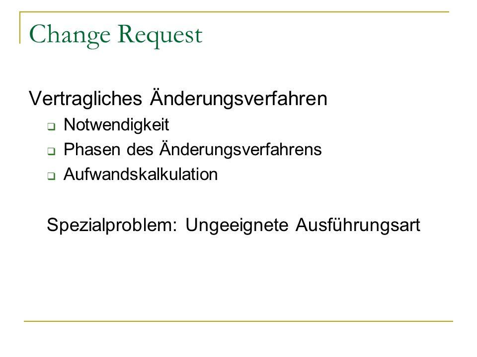 Change Request Vertragliches Änderungsverfahren