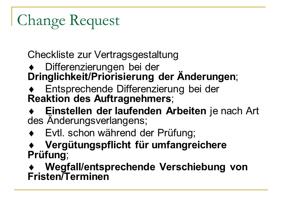 Change Request Checkliste zur Vertragsgestaltung