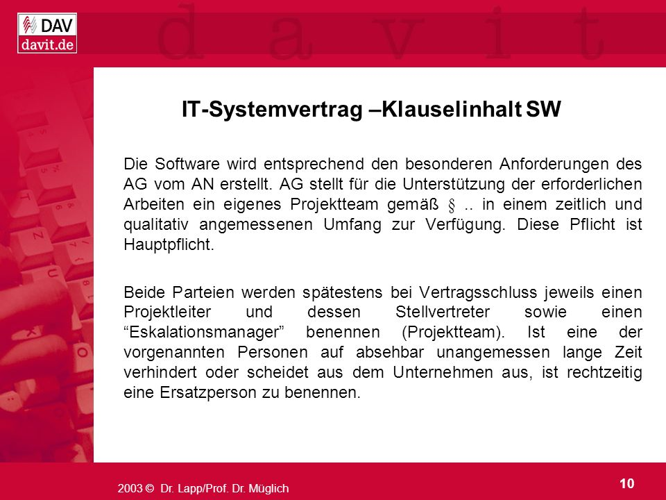 IT-Systemvertrag –Klauselinhalt SW