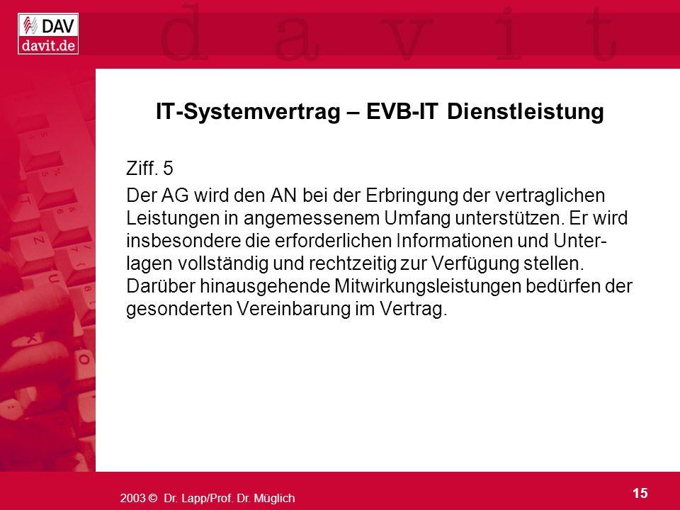 IT-Systemvertrag – EVB-IT Dienstleistung