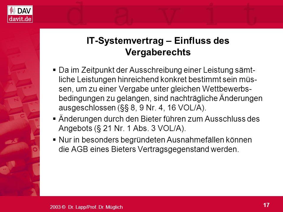 IT-Systemvertrag – Einfluss des Vergaberechts