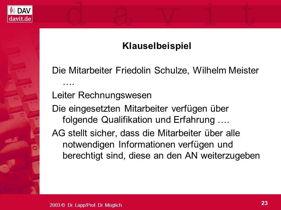 Die Mitarbeiter Friedolin Schulze, Wilhelm Meister ….