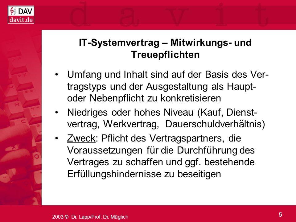 IT-Systemvertrag – Mitwirkungs- und Treuepflichten