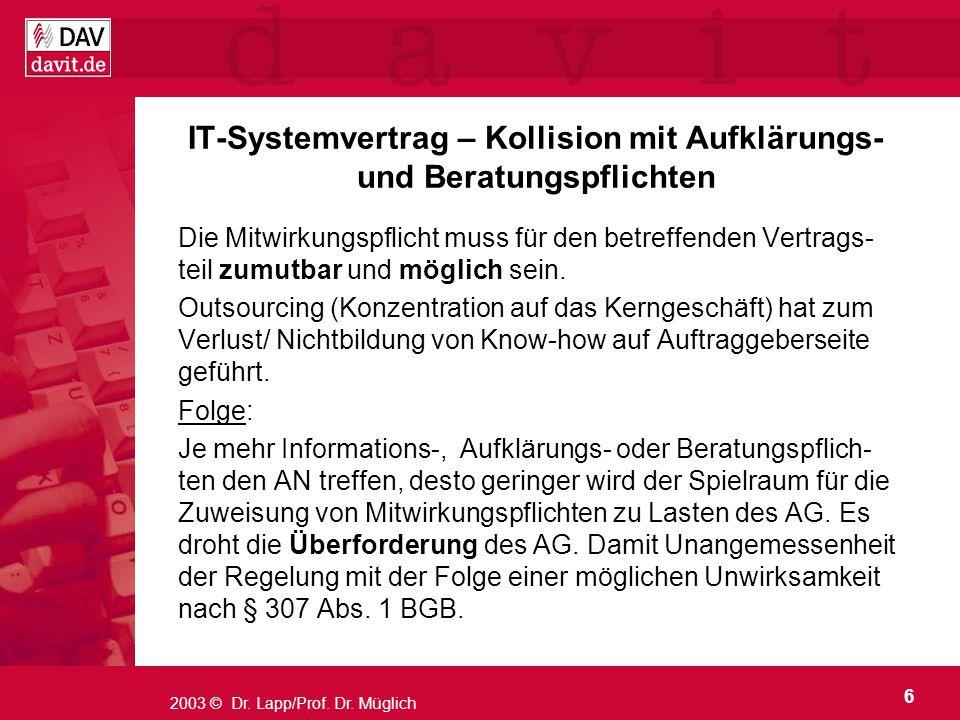 IT-Systemvertrag – Kollision mit Aufklärungs- und Beratungspflichten