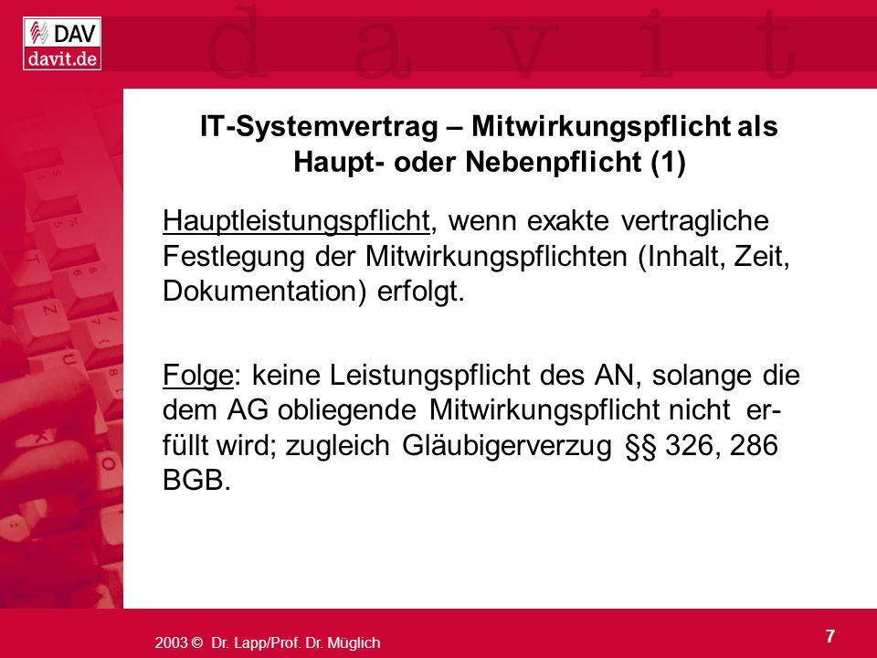 IT-Systemvertrag – Mitwirkungspflicht als Haupt- oder Nebenpflicht (1)