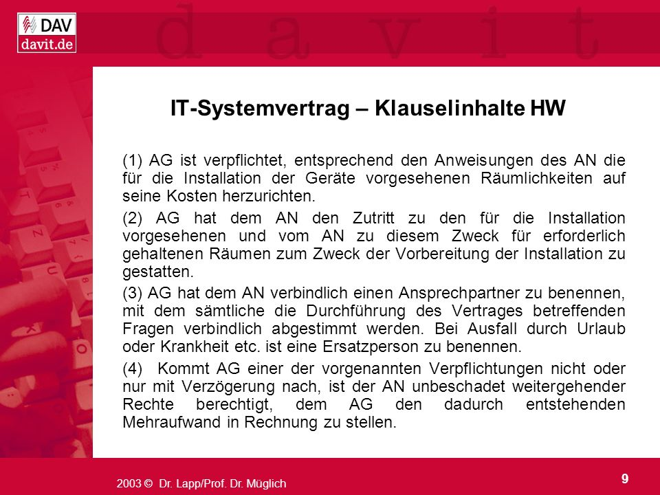 IT-Systemvertrag – Klauselinhalte HW