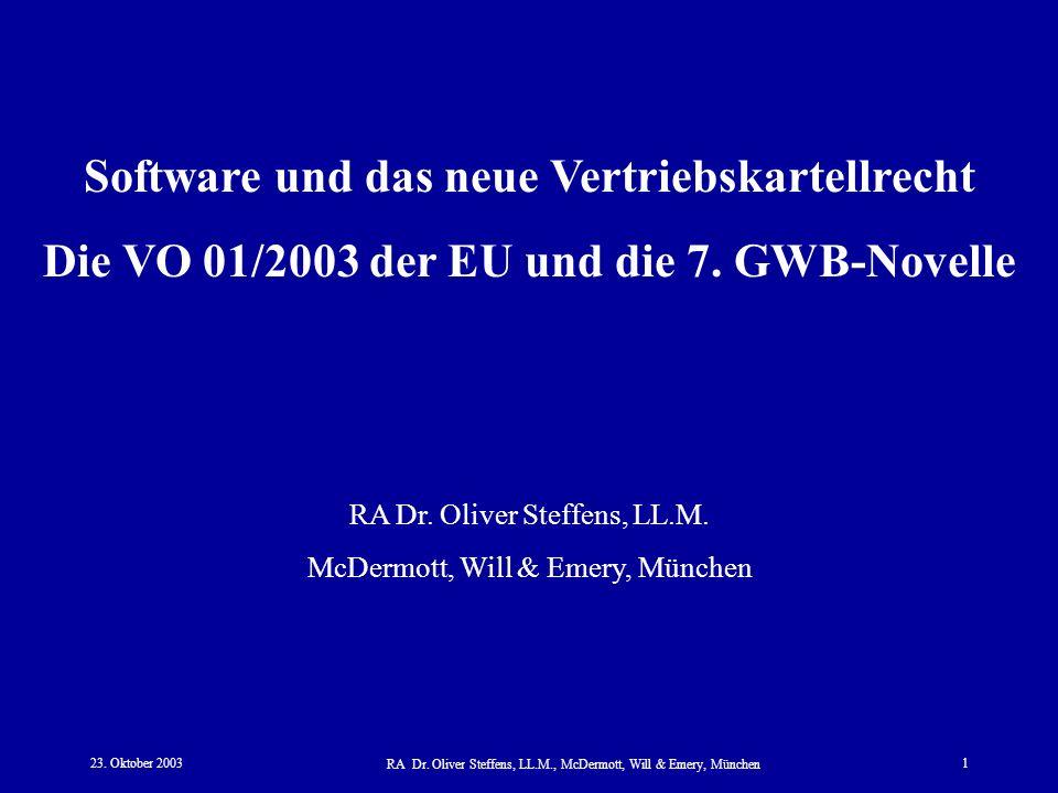 Software und das neue Vertriebskartellrecht