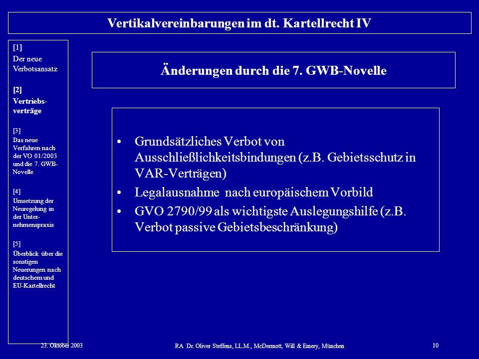 Änderungen durch die 7. GWB-Novelle