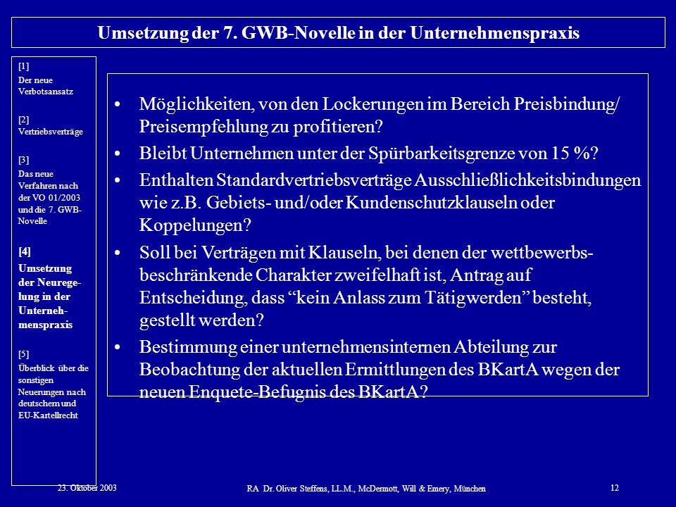 Umsetzung der 7. GWB-Novelle in der Unternehmenspraxis
