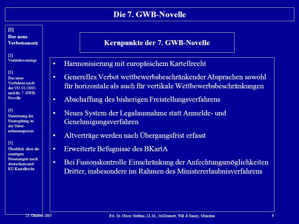 Kernpunkte der 7. GWB-Novelle
